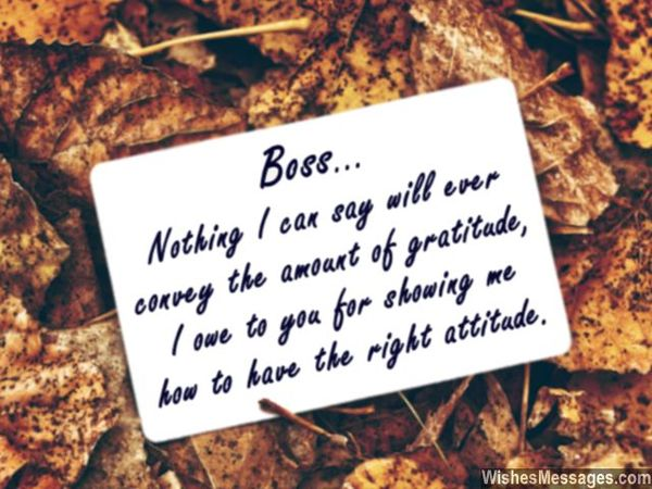 Thank You Note to Boss