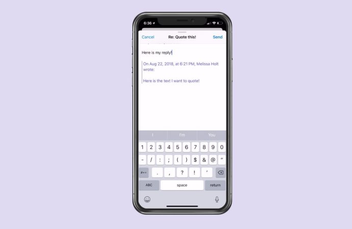 Composing Reply with Quoted Text on iPhone