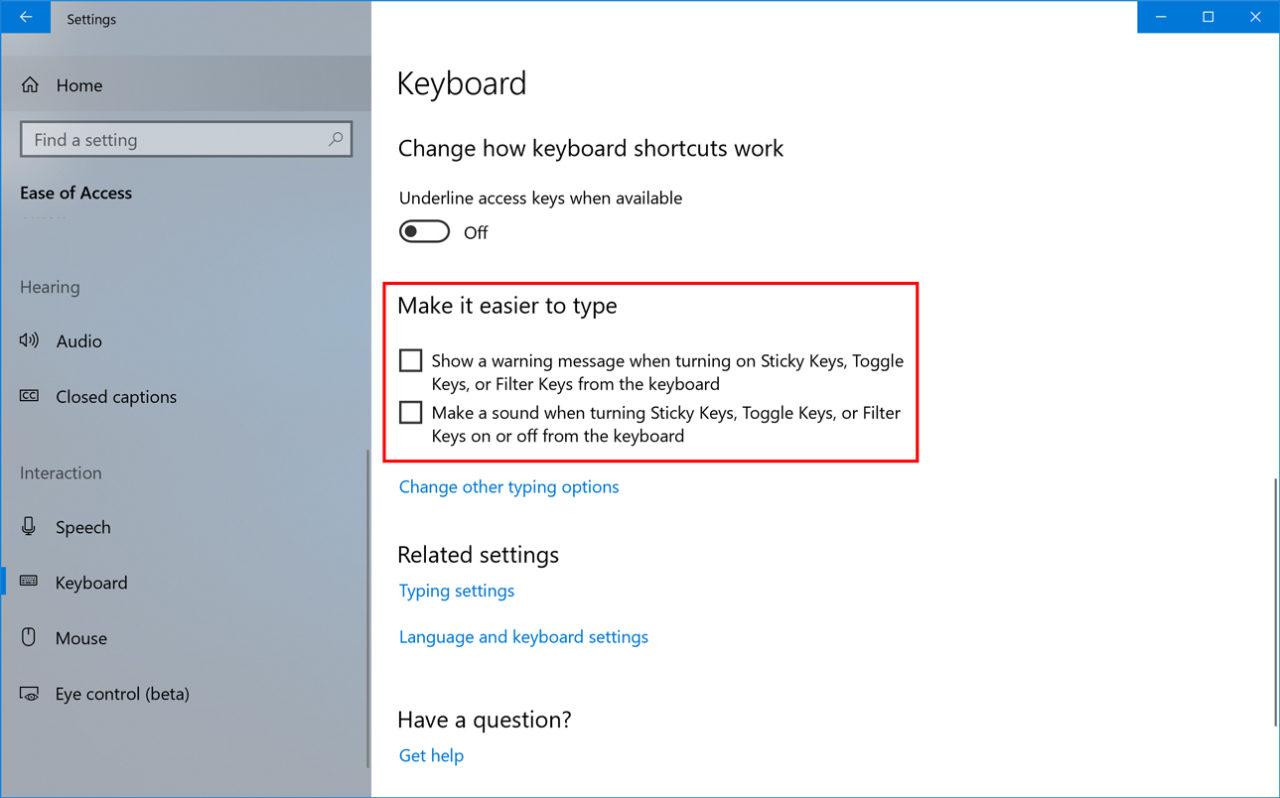Windows 10: Disable the Sticky Keys Warning & Beep