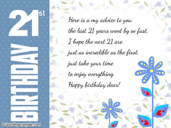Delicate images of cards for the 21st birthday