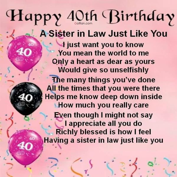 40th Birthday Messages For Sister
