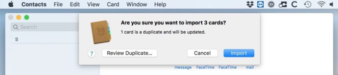 Importing Cards into Contacts