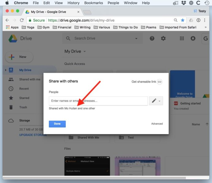google drive share with