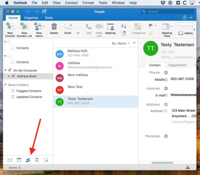 outlook contacts mac