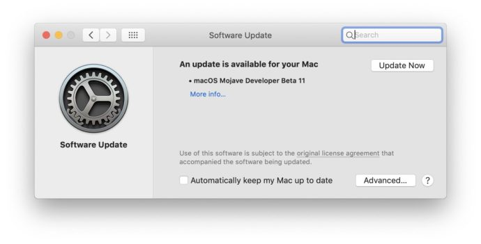 macos mojave software update check