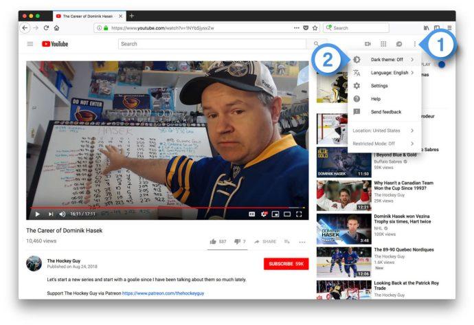 youtube dark theme desktop guest