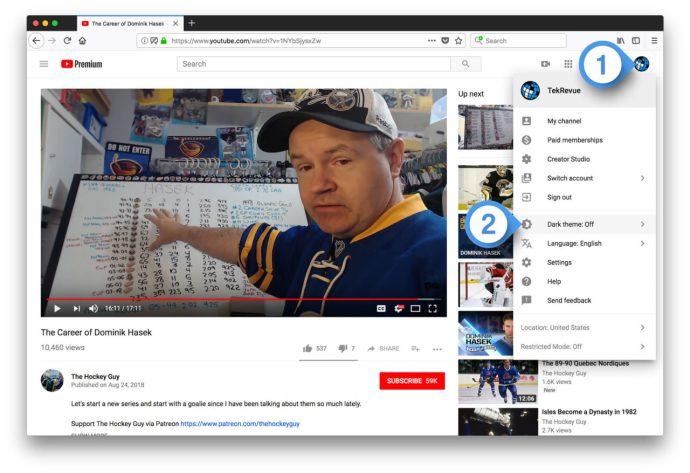 youtube dark theme desktop user