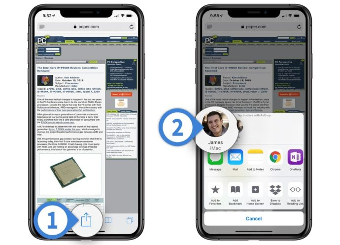 steps to airdrop website from iphone or ipad