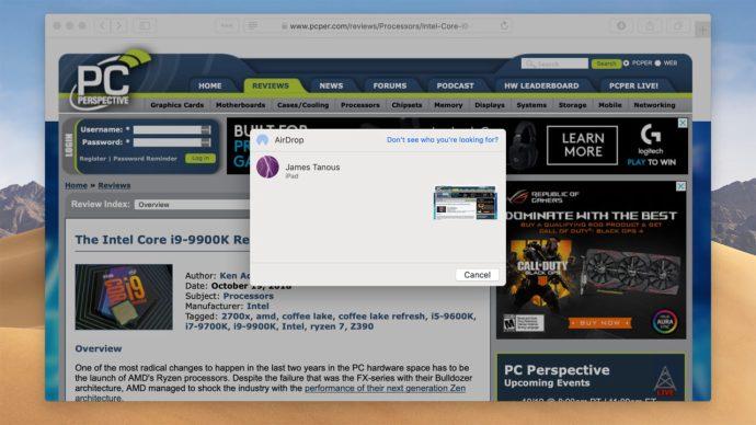 Airdrop Safari Mac Website for iPad