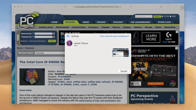 airdrop website safari mac to ipad