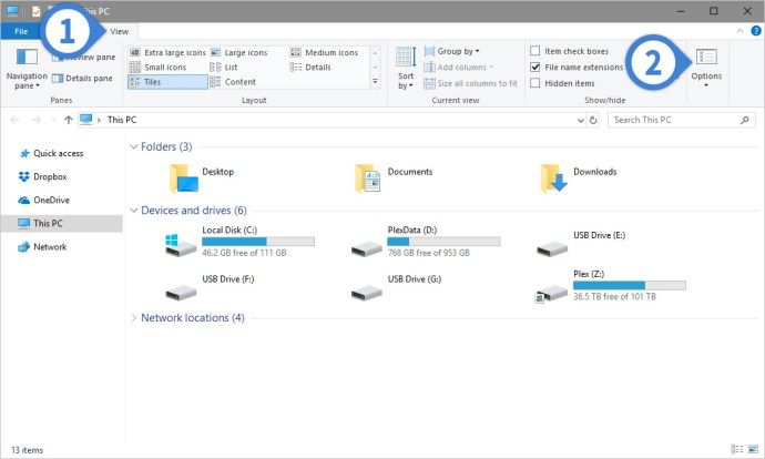 how to hide empty drives in file explorer