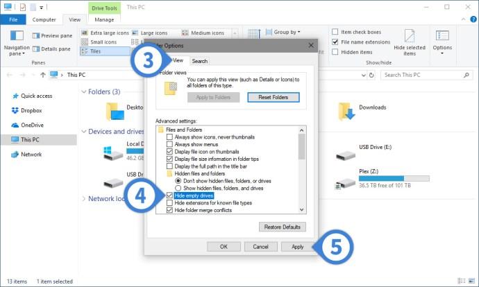 hide empty drives windows file explorer
