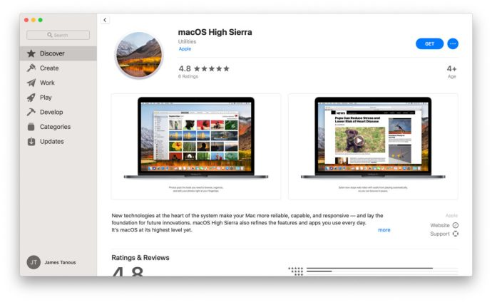 high sierra mac app store