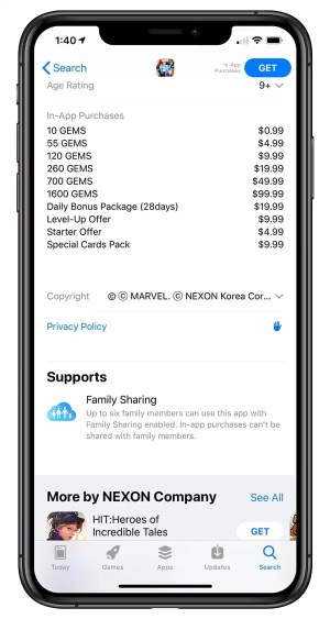 iphone in-app purchase list