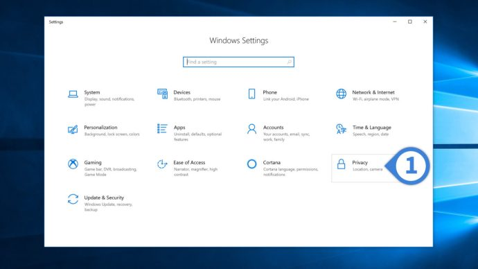 windows 10 settings privacy
