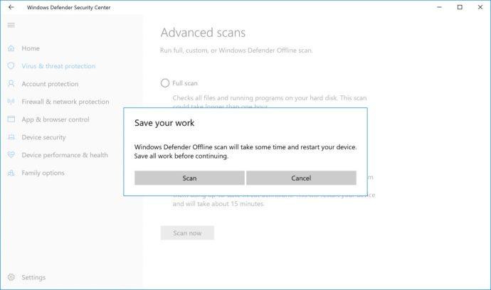 Windows Defender offline skanning omstart varning
