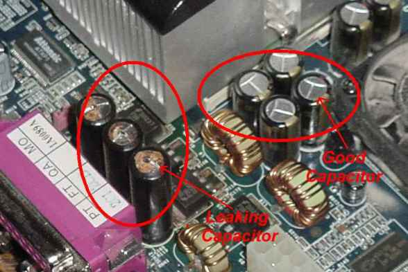 The difference between a good capacitor and a capacitor that needs replacing.