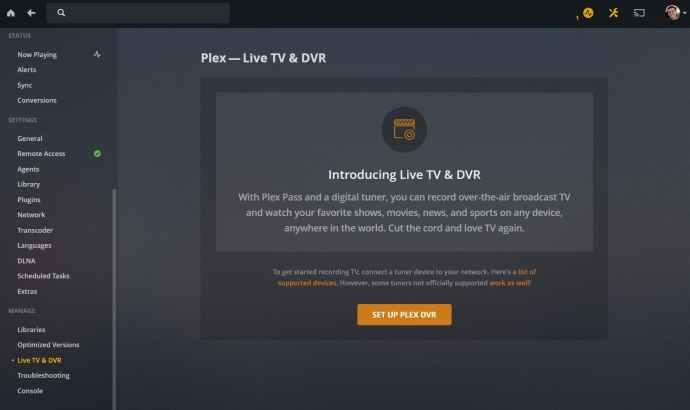 plex live tv setup