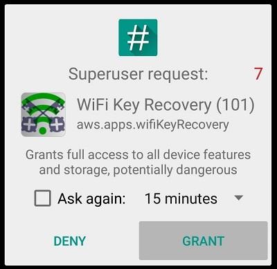 Wi-Fi Key Recovery superuser