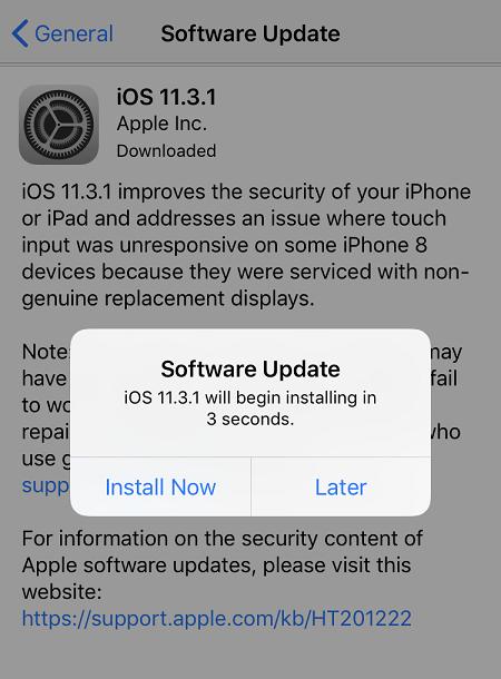 mise à jour du logiciel iphone