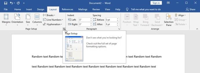 word page setup