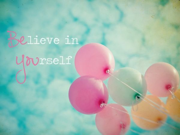believe in yourself quote in the air