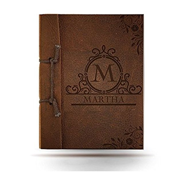 Brown Antiqued Leather Notebook with Engraved Initial, Name, and Message