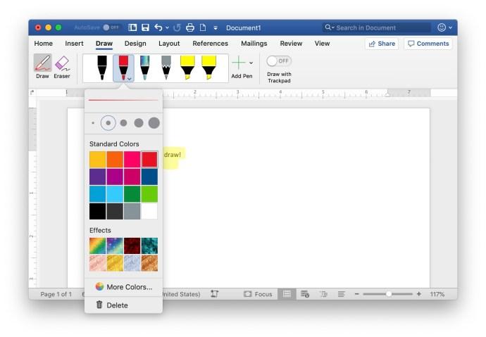 draw in word mac pen colors