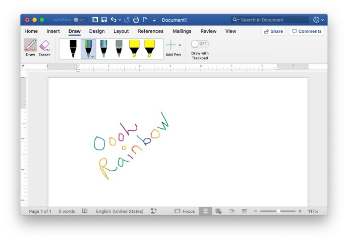 draw in word for mac