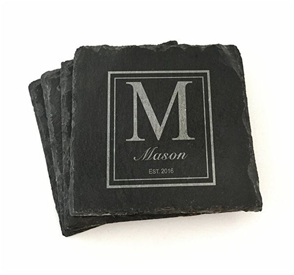 Set of 4 Personalized Slate Coasters
