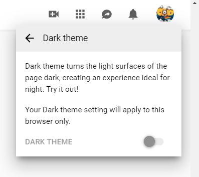 YouTube Dark Mode on a PC