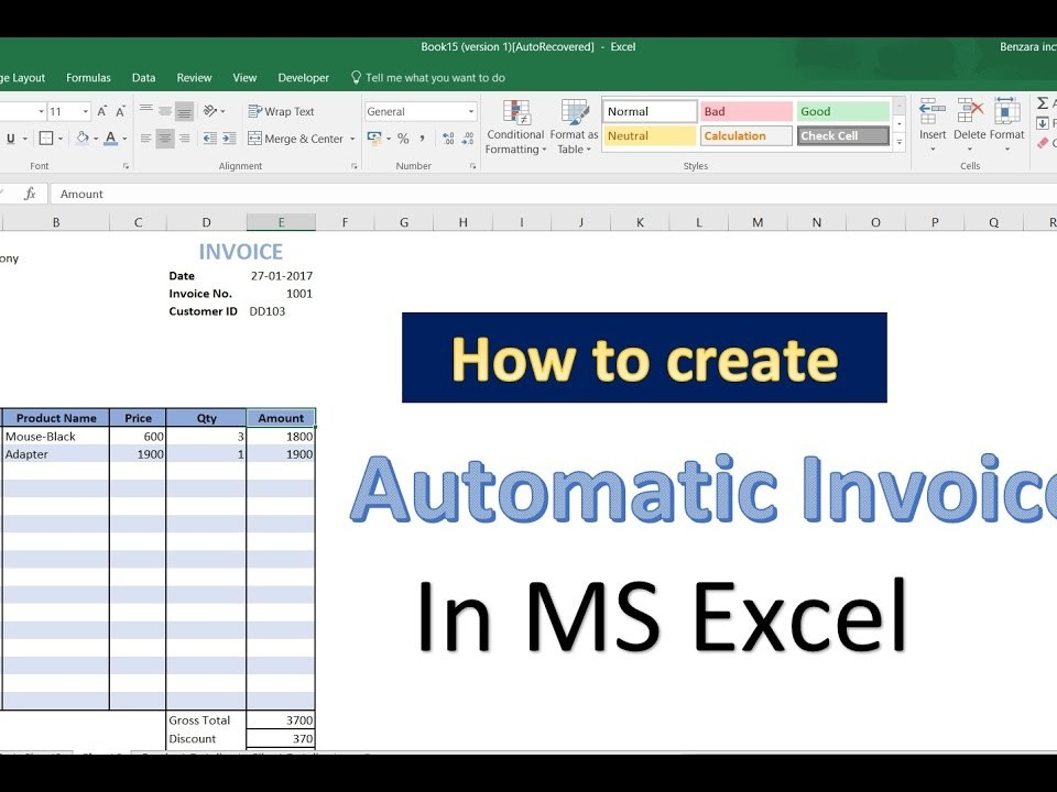How To Automatically Generate Invoice Numbers In Excel