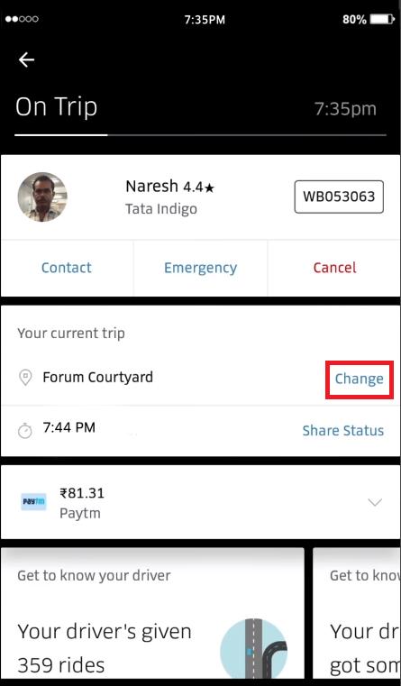 cómo cambiar la ubicación de uber