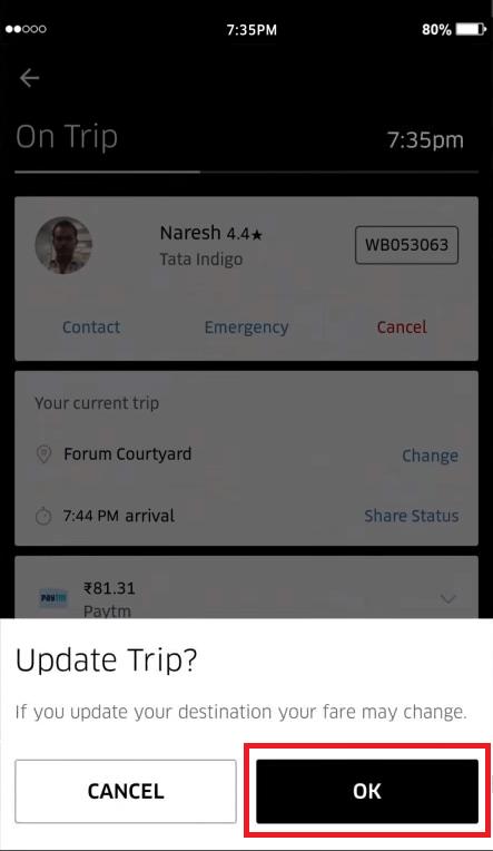 ubicación en uber