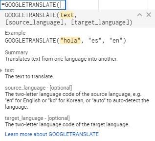 spreadsheet translation
