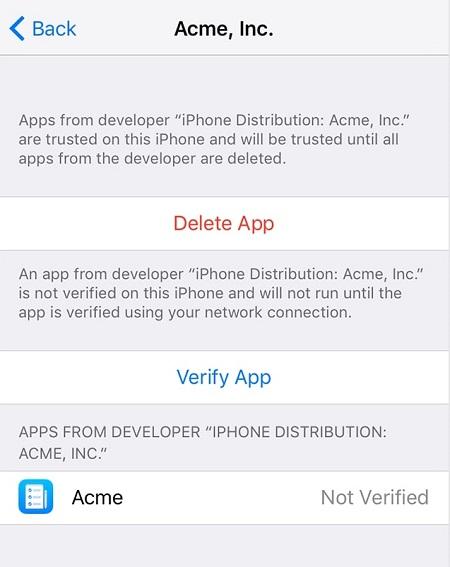 Menú de verificación de aplicaciones confiables