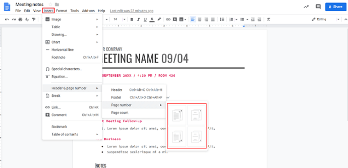 Automatic paging in Google Docs