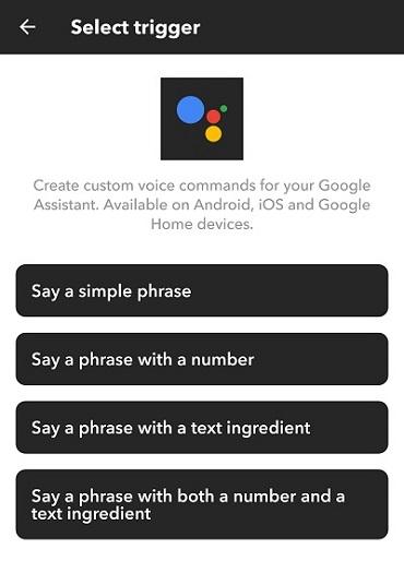 Google Assistant select trigger