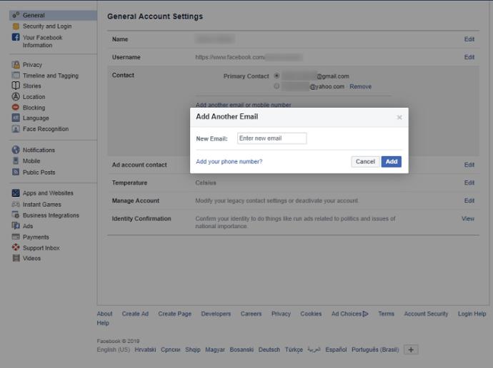 Как изменить электронную почту на Facebook