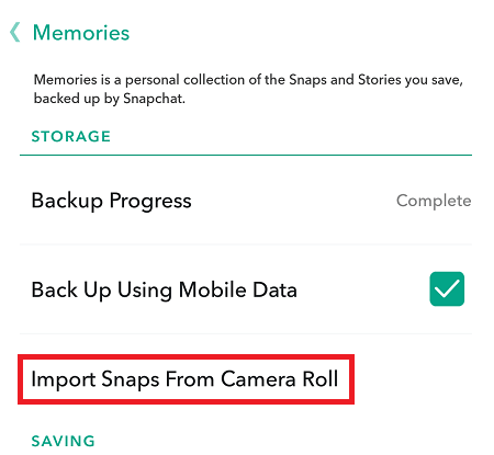 Import Snaps from the Camera Roll