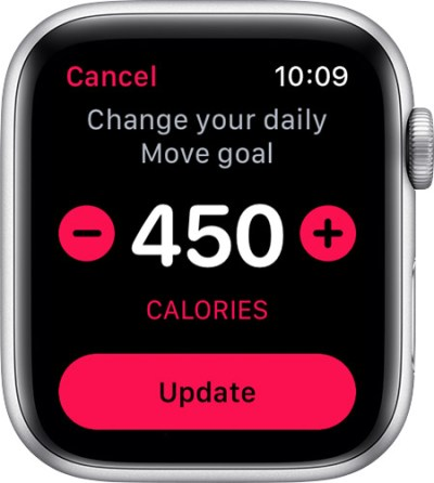 change the calorie goal on the iPhone
