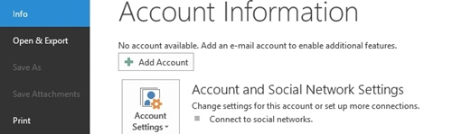 Account and Social Network Settings