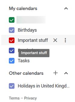 Calendar hover