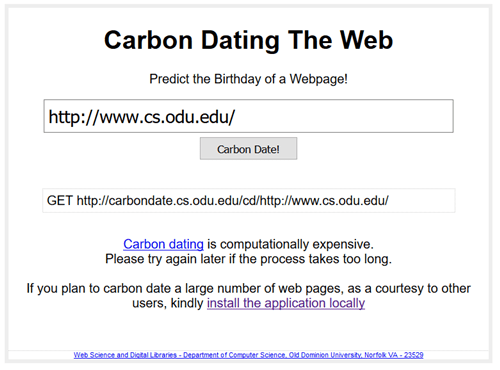 Carbon Dating The Web