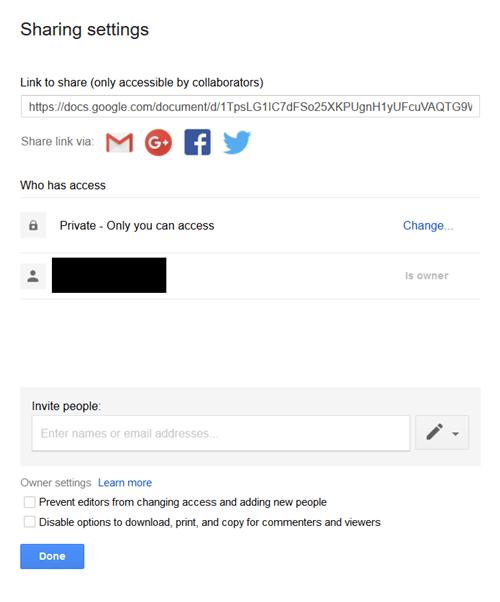 Google Drive - Sharing settings