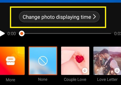 change the display time of photos