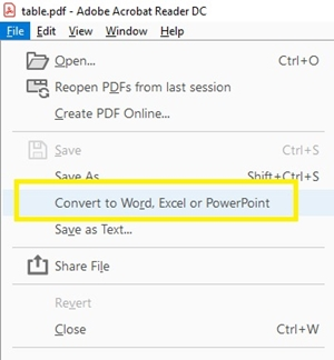 conver to Word, Excel, or PowerPoint