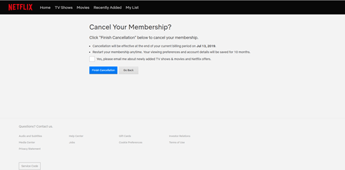netflix cancel membership