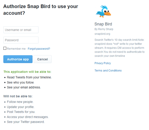 Authorize Snap Bird
