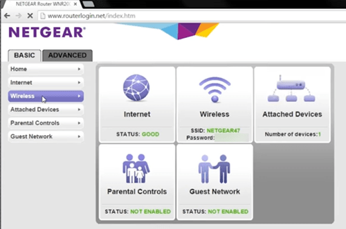 NETGEAR index page